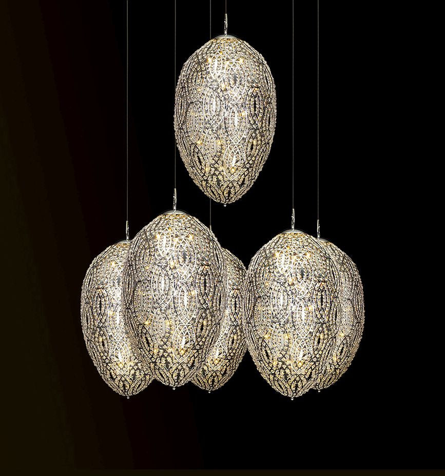 Modern high-end Italian cluster light with six Asfour crystal-encrusted eggs