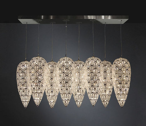 Modern high-end linear canopy light with eight Asfour crystal-encrusted elements