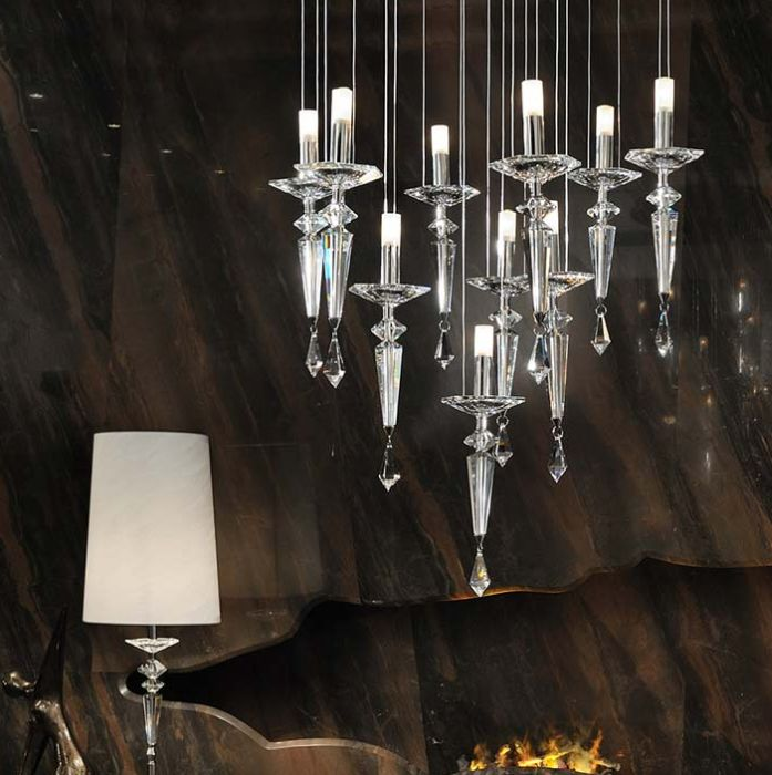 Clear, lilac or black crystal and chrome chandelier from Italy