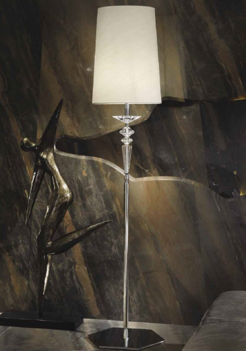 Black high grade clear or purple crystal floor lamp