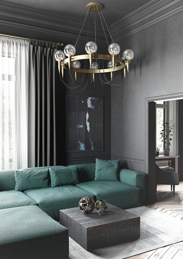 Modern Italian chandelier with 7 metal finishes & 10 opaline glass globes