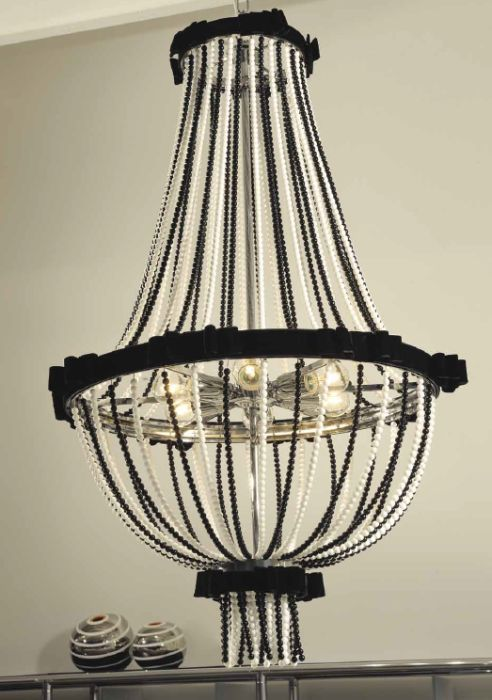 Glamorous black and or white  crystal chandelier with velvet bows