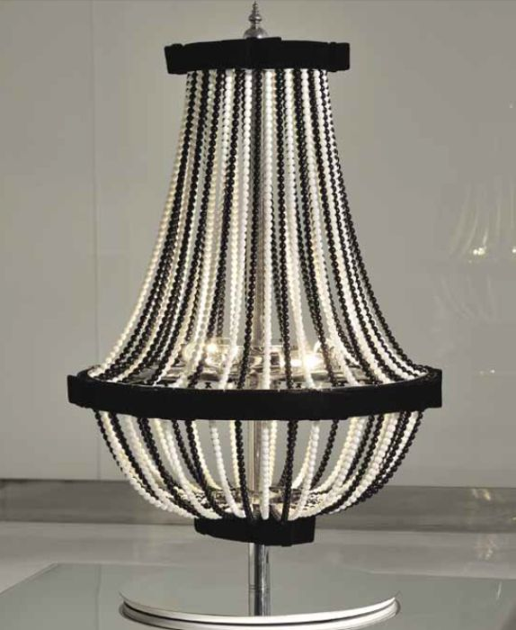Glamorous black and or white crystal table lamp with velvet trim