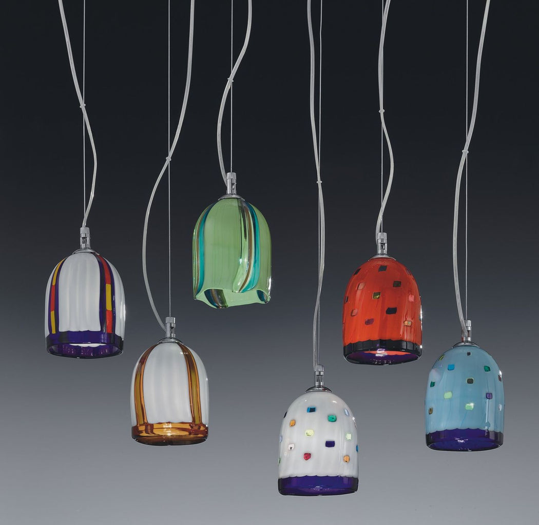 Modern hand-blown Murano glass ceiling pendant in 14 different designs