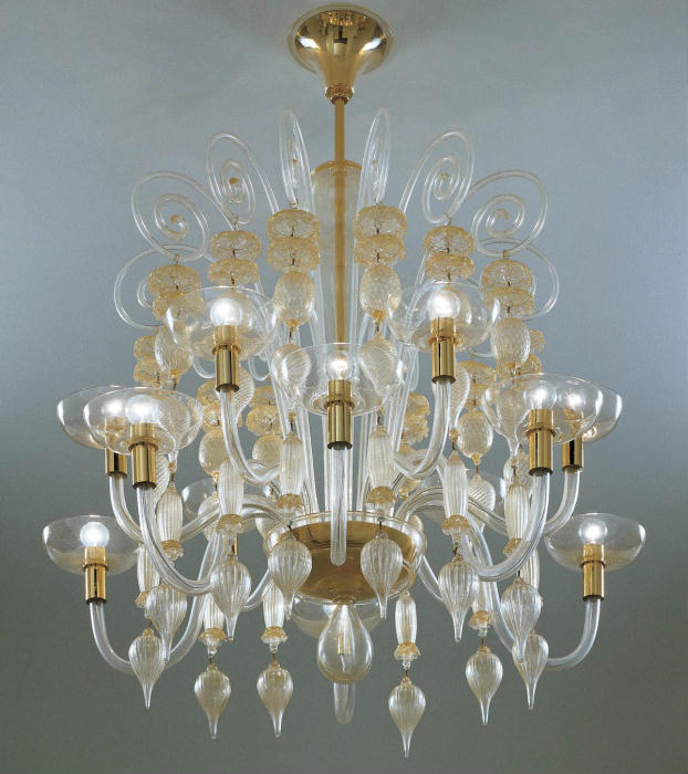 Carlo Scarpa gold & clear Murano glass chandelier from Venini