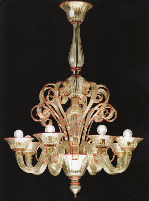 Coral & gold Albrici Murano glass chandelier from Venini