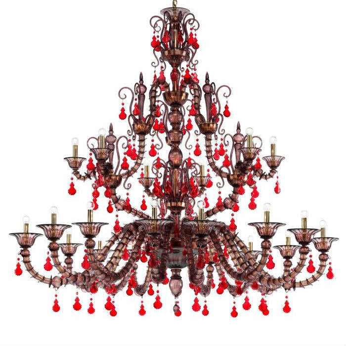 Diamantei 2 metre red & amethyst  chandelier from Venini