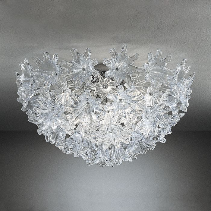 The iconic 60 cm Esprit flush ceiling light from Venini in Murano glass
