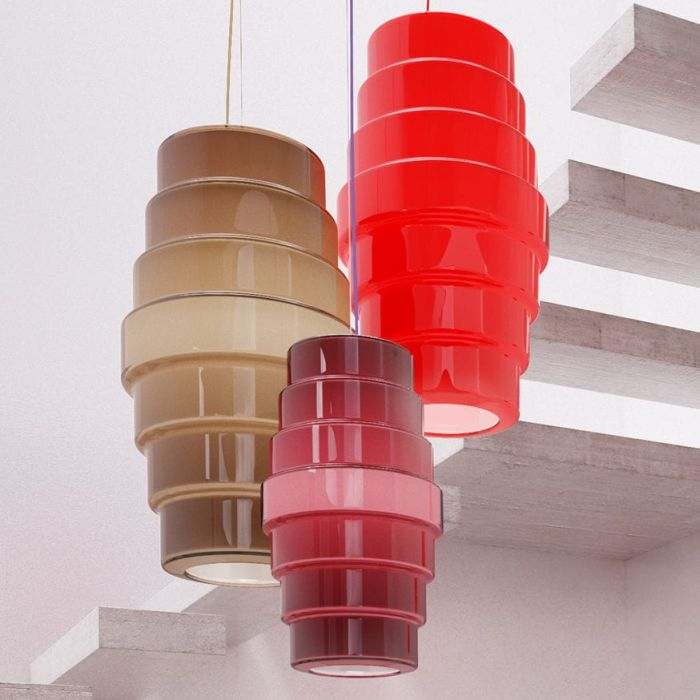 Large mid century style Zoe ceiling pendant from Venini in 3 colours