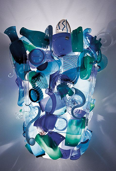 100 cm custom Frammenti illuminated wall art from Venini in Murano glass