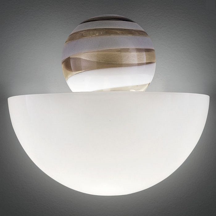 The Abaco white and grey Murano glass wall light from Venini