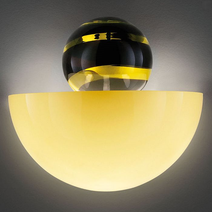 Abaco amber, black & yellow glass sphere wall uplighter from Venini