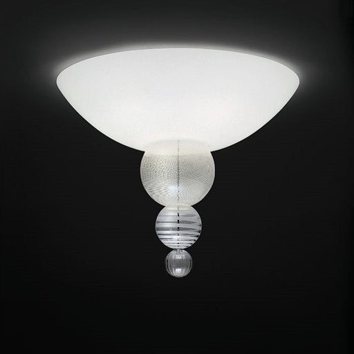 The Abaco white Murano glass flush ceiling light from Venini