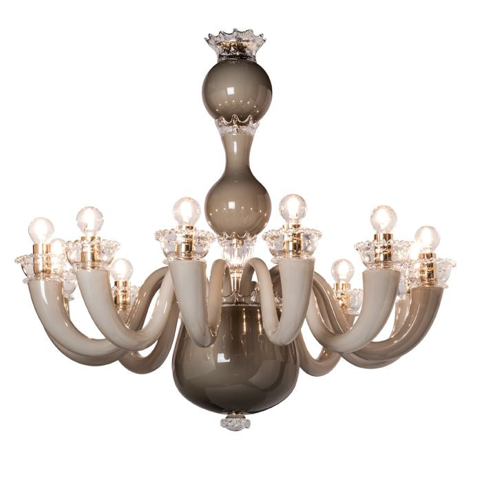 Modern glossy taupe grey Murano glass Gio Ponti chandelier from Venini