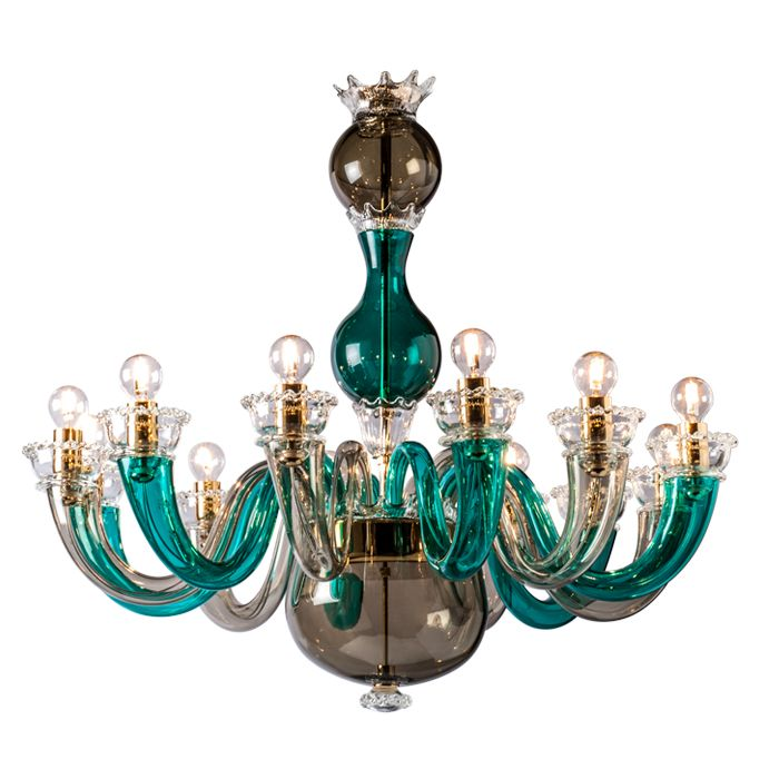 Grey and green Gio Ponti 99.81 chandelier by Venini