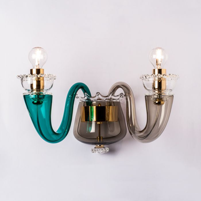Green & grey 99.81 Gio Ponti Murano glass wall light by Venini
