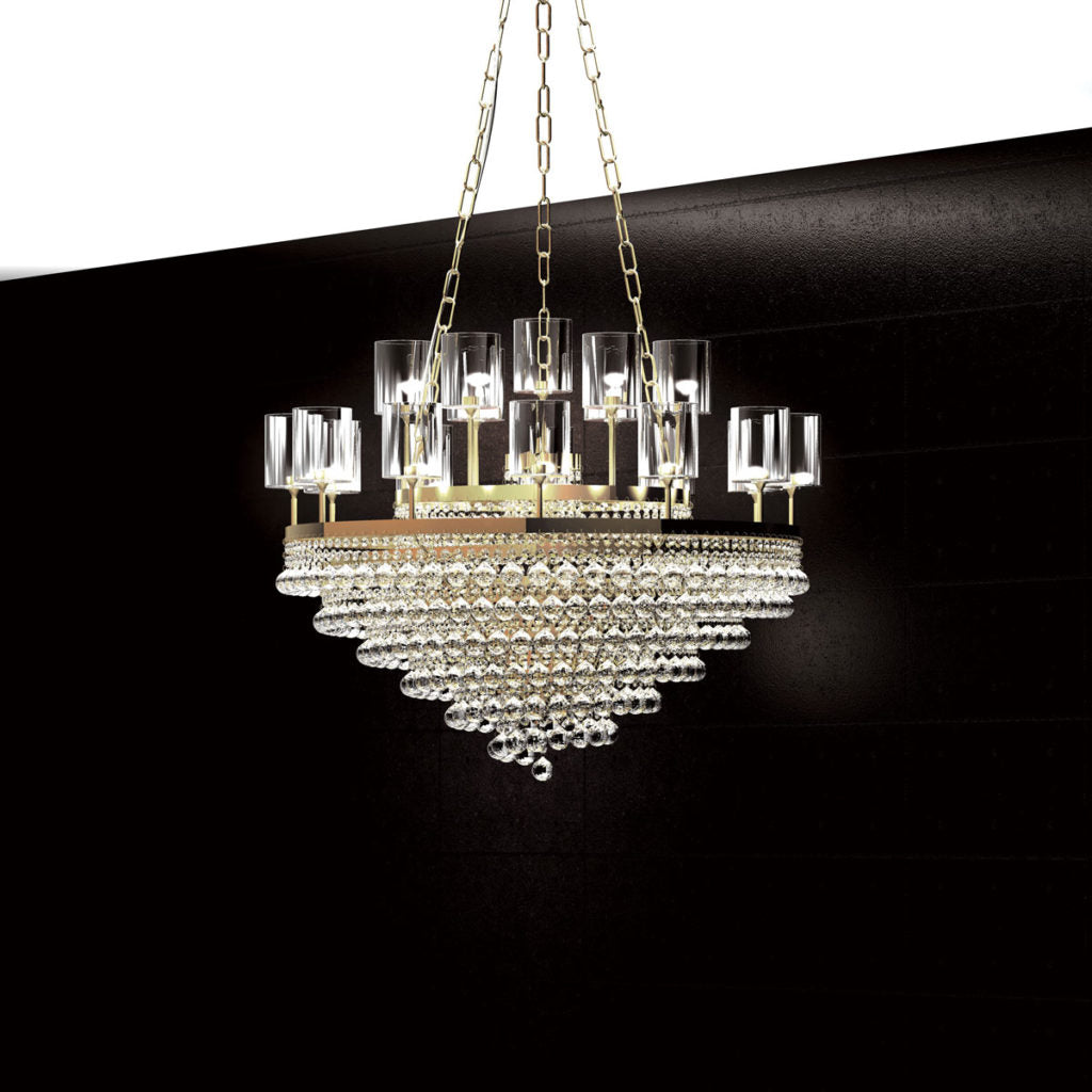Modern gold or chrome chandelier with crystal, Swarovski or glass baubles