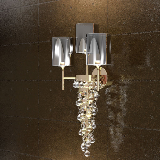 Modern gold or chrome wall sconce with crystal, Swarovski or glass baubles