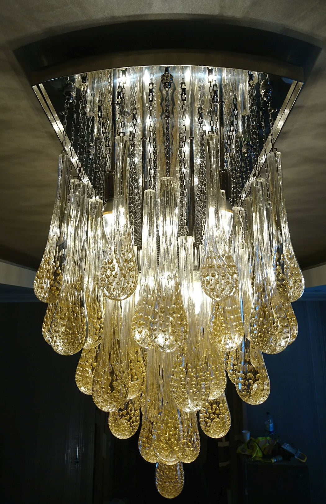 Bespoke 3.2 metre dining room chandelier with Murano glass prisms