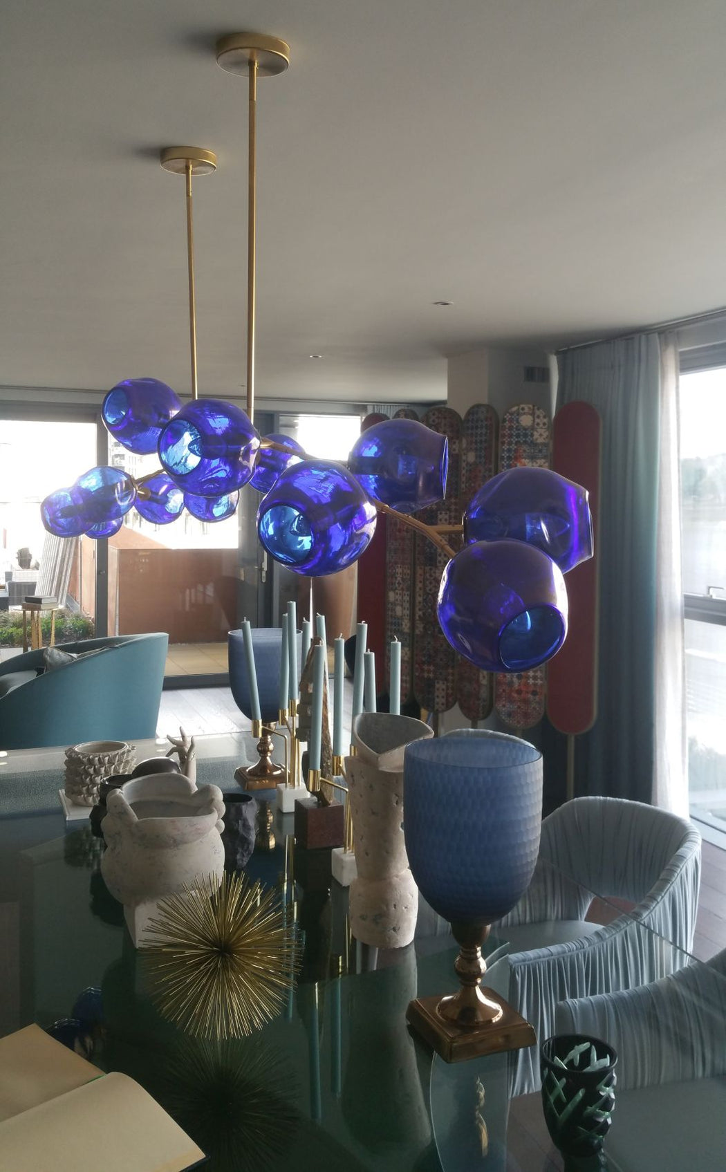 Tailor-made Murano glass chandelier in cobalt blue