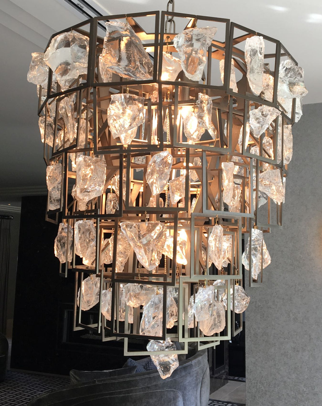 Large modern bespoke chandelier with Murano glass or rock crystal