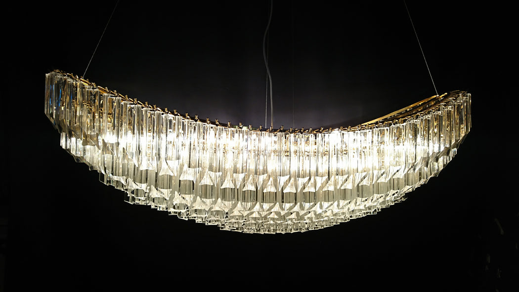 Custom 3 sided Murano glass prism chandelier