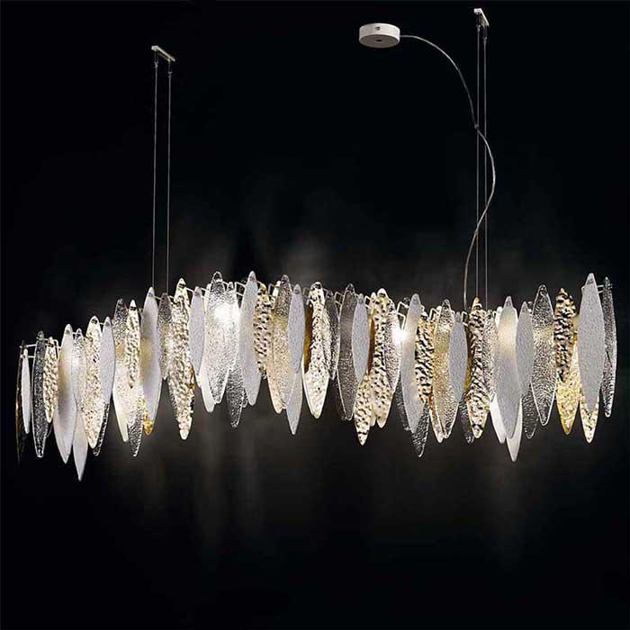Modern white, gold & clear suspended light with Murano glass leaves