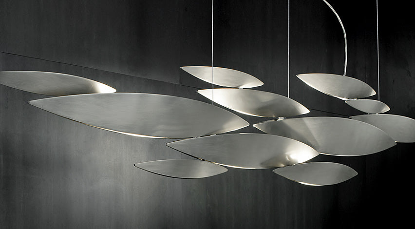 """I Lucci Argentati"" long nickel or white ceiling light by Terzani"