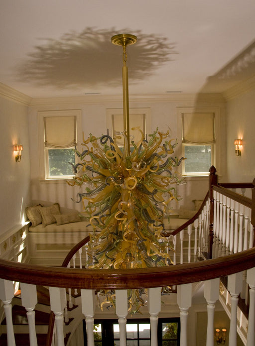 Custom-made glass art stairwell chandelier in your choice of colors