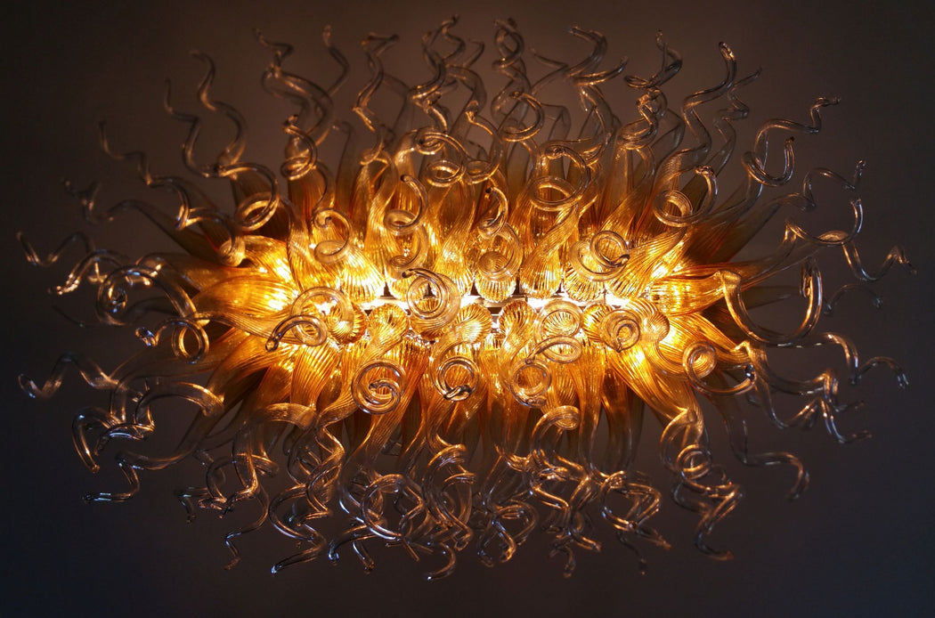 Bespoke gold and clear Murano glass art chandelier