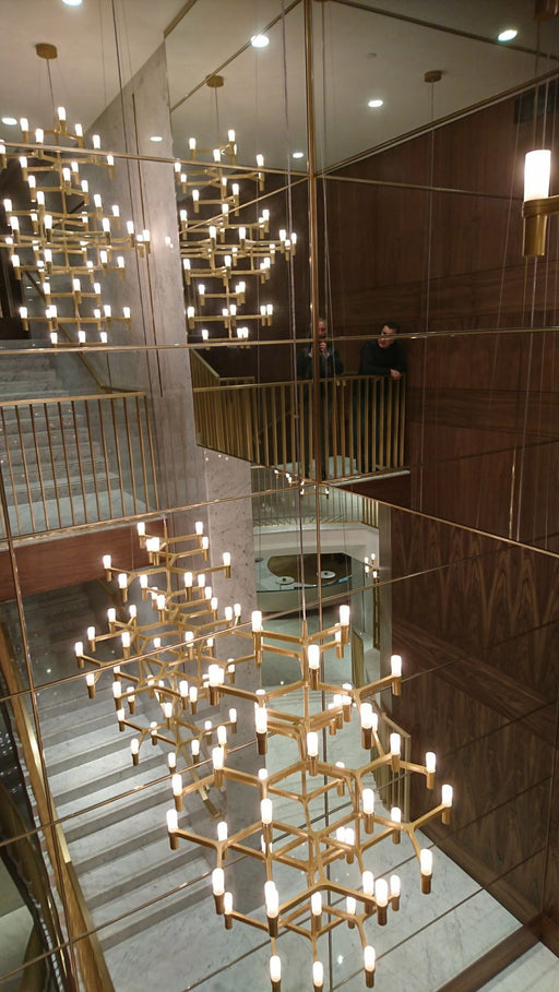 Large bespoke modern ceiling lighting installation for a top London hotel