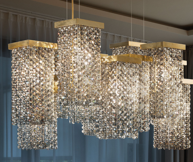 Modern smoked cut crystal chandelier with 12 lights, and Swarovski option