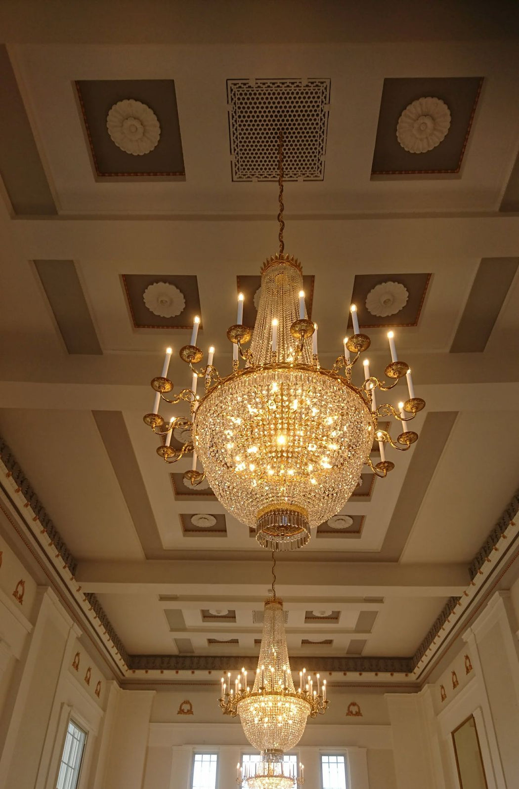Beautiful custom-made crystal basket chandeliers