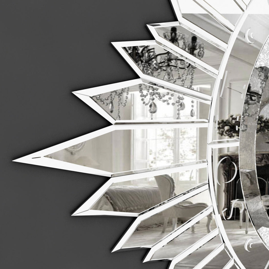 Silvered art-deco-inspired Venetian sun-burst wall mirror