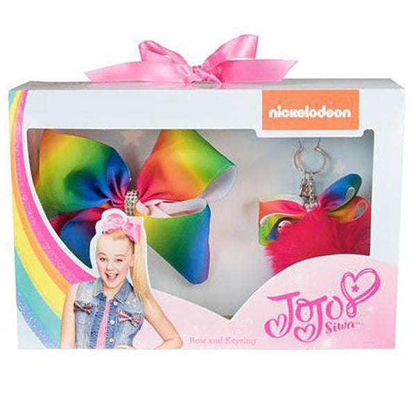 Jojo Siwa Rainbow Bow & Pom Pom Keyring Gift Set - CHARACTEROUTLET.co.uk