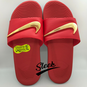 Custom Nike Gold Swoosh Slides