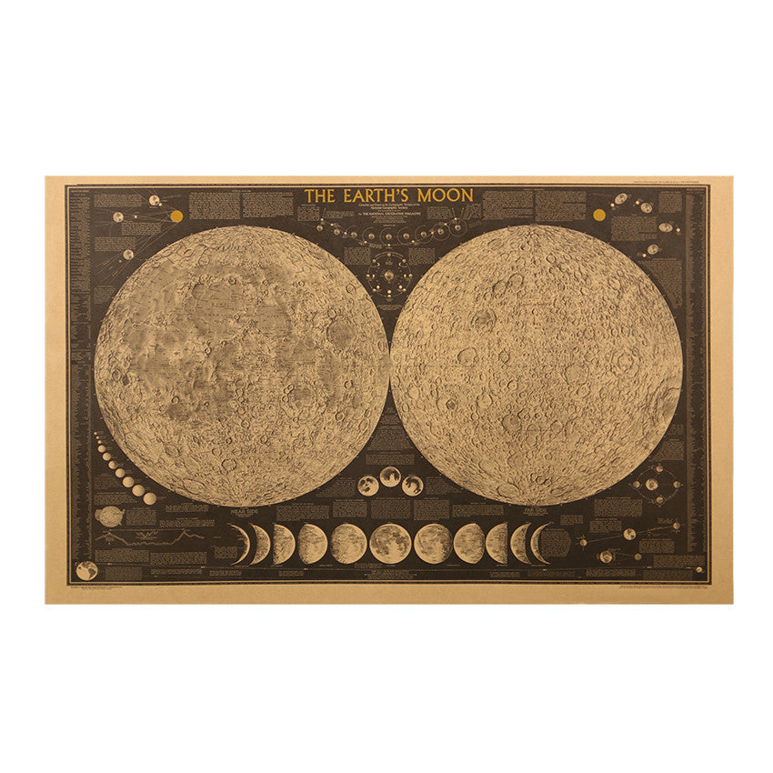 Retro Large Vintage Earth's Moon Map Poster for Wall