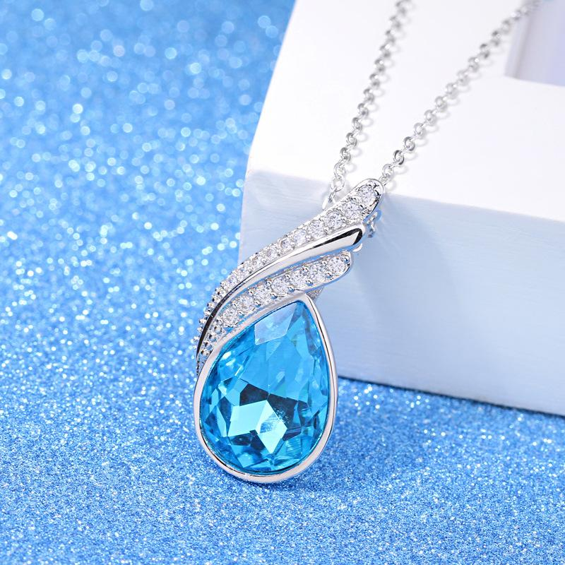 f06a0fc3b Fashion 925 Sterling Silver Blue Crystal Pendant Necklace. Tap to expand