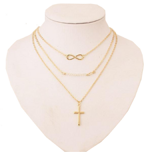 Multi Layer Infinity Cross Necklace Clarity Of Faith