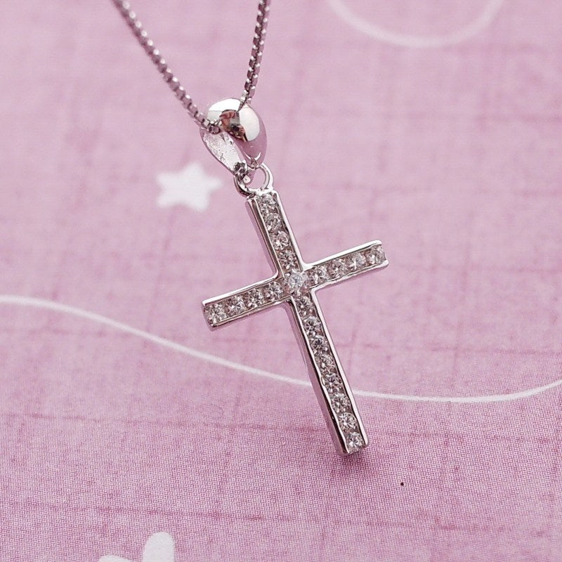 Sterling silver cubic zirconia cross necklace clarity of faith sterling silver cubic zirconia cross necklace aloadofball Image collections