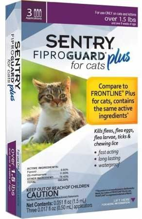 Sentry, Fiproguard Plus for Cats .017oz 3ct