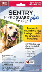 Sentry, Fiproguard Plus for Dogs 45-88lbs 3ct