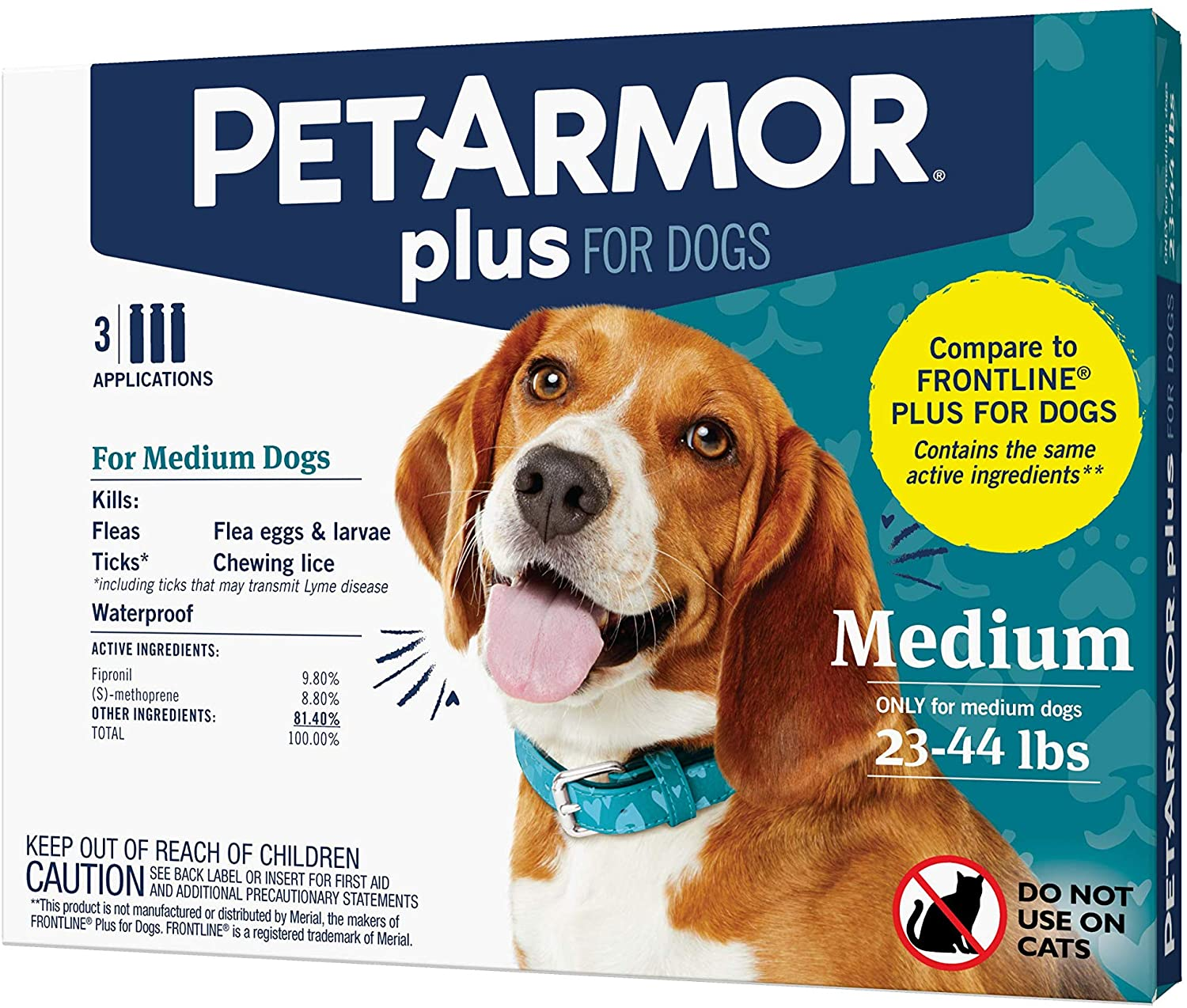 Pet Armor, Flea and Tick Prevention for Dogs M 3ct