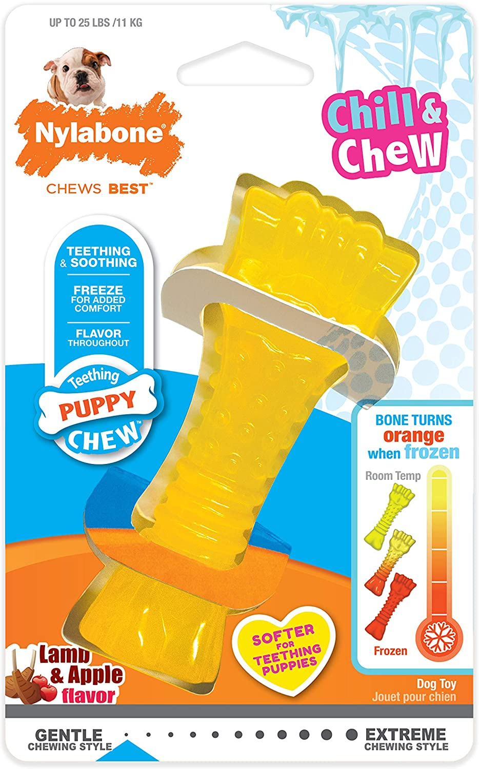 Nylabone, Puppy Chew Freezer Dog Toy Lamb/Apple