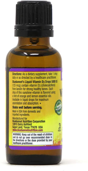 Bluebonnet, Earth Sweet Liquid Vitamin D3 5000 IU 1oz
