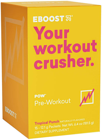 EBOOST, POW Pre-Workout Tropical Punch, 15 12.2g Packets