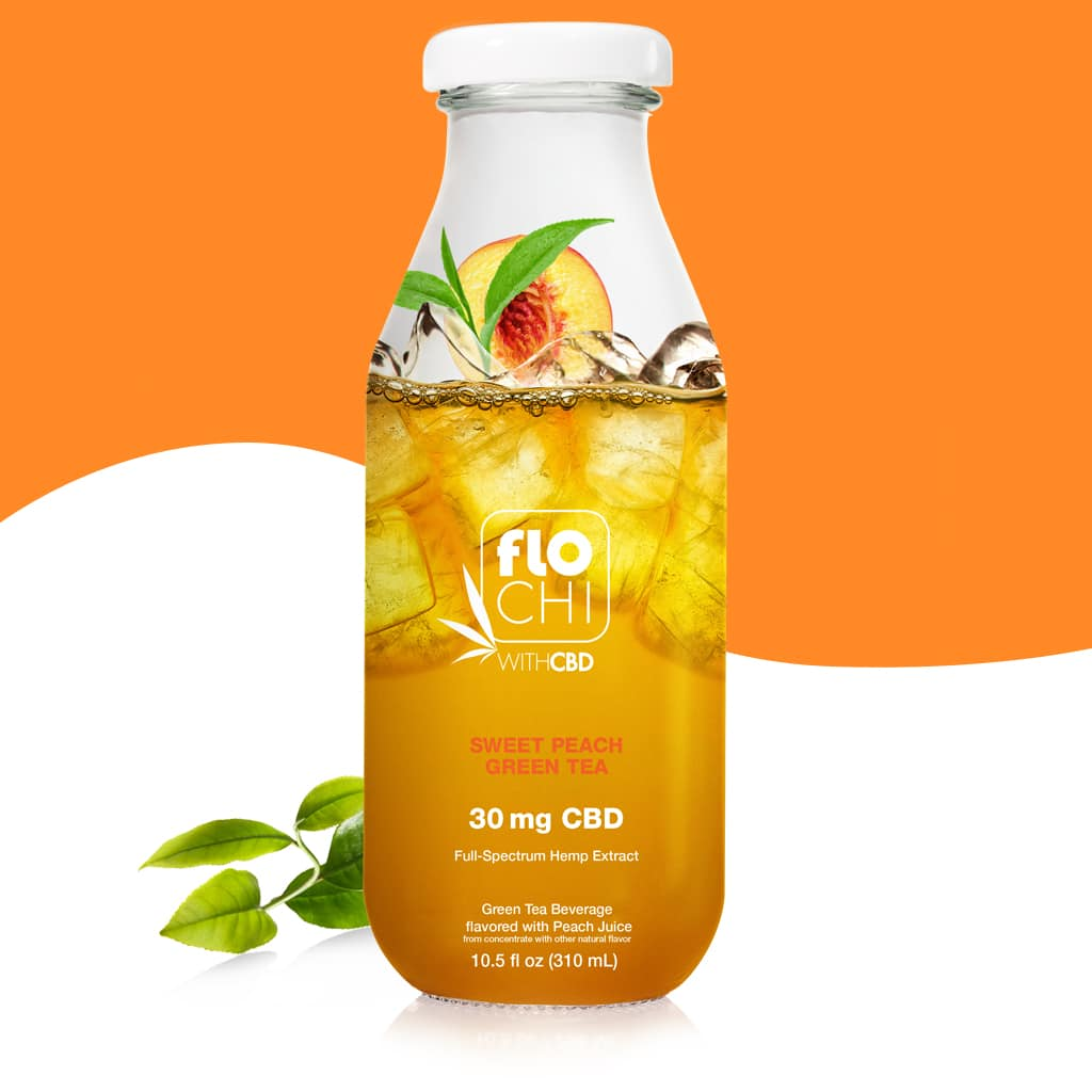 Flo Chi, CBD Iced Tea Sweet Peach Green Tea 10.5oz