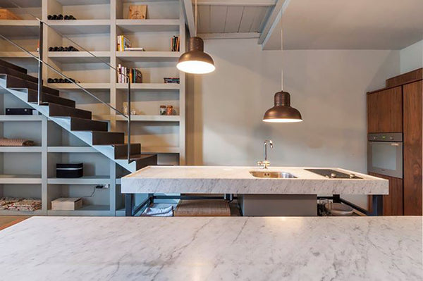 Bianco Carrara Kitchen Island and Countertop Valletta Apartment Malta