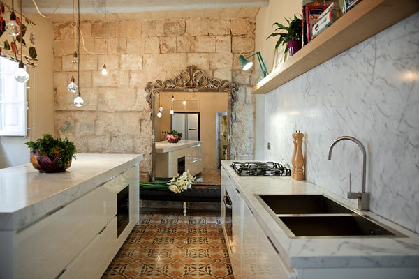 Bianco Statuario marble Kitchen countertop and island top in Malta house