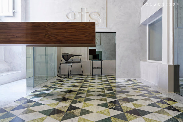 Mosaic flooring GTS offices Malta Verde Alpi, Irish Green and Griggio Amani.